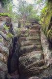 Ciudad protegida de la roca en la naturaleza, Adrspach, República Checa Fotografía de archivo