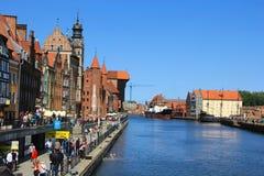Ciudad puerto fluvial de Gdansk, mar Báltico Foto de archivo libre de regalías