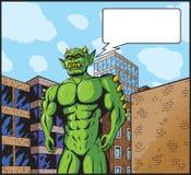 Ciudad que ataca del monstruo gigante. Imagen de archivo