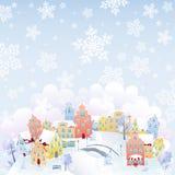 Ciudad que nieva Imagenes de archivo