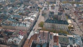Ciudad a?rea Lviv, Ucrania Ciudad europea ?reas populares de la ciudad Ayuntamiento almacen de video