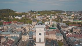 Ciudad a?rea Lviv, Ucrania Ciudad europea ?reas populares de la ciudad Ayuntamiento metrajes