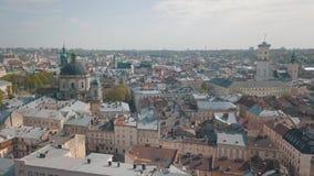 Ciudad a?rea Lviv, Ucrania Ciudad europea ?reas populares de la ciudad dominicano almacen de metraje de vídeo
