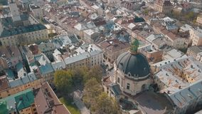 Ciudad a?rea Lviv, Ucrania Ciudad europea ?reas populares de la ciudad dominicano almacen de video