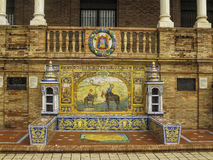 Ciudad real ceramic bench Plaza Espana Royalty Free Stock Photo