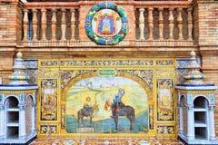 Ciudad Real. Plaza de Espana, Seville, Spain - old decorative ceramics alcove dating back to year 1928. Ciudad Real theme Stock Image