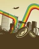 Ciudad retra de la música Fotos de archivo libres de regalías