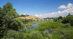 Ciudad Rodrigo - Castle of Henry II of Castile and Agueda River Royalty Free Stock Photography