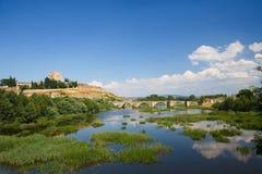 Ciudad Rodrigo - kasztel Henry II Castile i Agueda rzeka Zdjęcia Stock