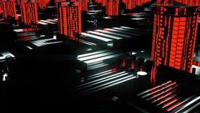 Ciudad roja futurista cibernética 3d edificios, rascacielos en estilo de la tecnología