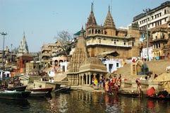 Ciudad santa Benaras en la India Imagenes de archivo