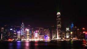 Ciudad Scape en la noche en Honh Kong Fotos de archivo