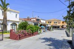 Ciudad Sidari de la playa Imágenes de archivo libres de regalías