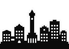 Ciudad, silueta negra stock de ilustración