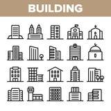 Ciudad, sistema linear del vector de los iconos de los edificios de la ciudad stock de ilustración