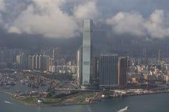 Ciudad skyline.ICC de Hong Kong Foto de archivo libre de regalías