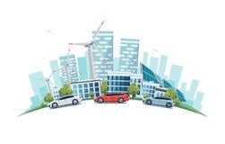Ciudad sostenible con el camino de la calle de los coches y horizonte en el globo Foto de archivo