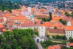 Ciudad superior vieja en Zagreb imagen de archivo