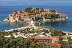 Ciudad Sveti Stefan en Montenegro Fotos de archivo