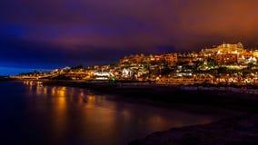 Ciudad Tenerife de la noche Imagen de archivo libre de regalías