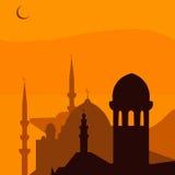 Ciudad turca mágica animada Estambul ramadan Ilustración Foto de archivo libre de regalías