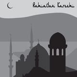 Ciudad turca mágica de la animación de Estambul en blanco y negro ramadan Ilustración Imágenes de archivo libres de regalías