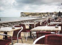Ciudad vacía de la costa en Normandía en otoño Imágenes de archivo libres de regalías