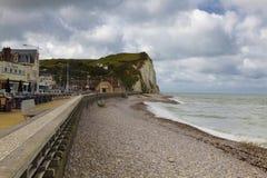 Ciudad vacía de la costa en Normandía en otoño Imagenes de archivo