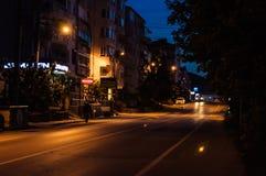 Ciudad vacía en la noche - Turquía del verano Foto de archivo libre de regalías