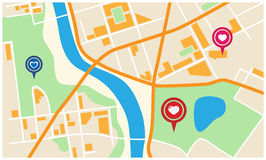 Ciudad Valentine Map Imagen de archivo libre de regalías