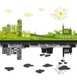 Ciudad verde contra contaminado ilustración del vector