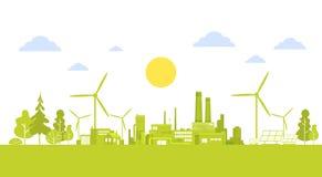 Ciudad verde de la silueta con concepto limpio del ambiente de la ecología de la naturaleza de la turbina de viento Imagen de archivo