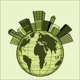 Ciudad verde sobre el globo