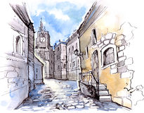 Ciudad vieja ilustración del vector