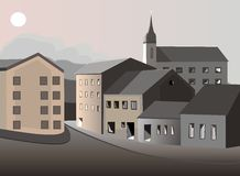 Ciudad vieja bajo vector de la luna Imagen de archivo libre de regalías