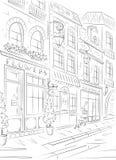 Ciudad vieja, calle con los edificios viejos, cafés Foto de archivo