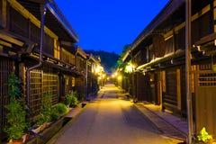 Ciudad vieja centrada de Hida-Takayama de las casas de madera Foto de archivo libre de regalías