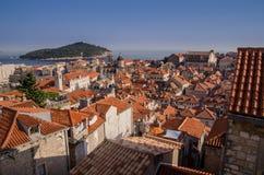 Ciudad vieja de Dubrovnik de las paredes Imagenes de archivo