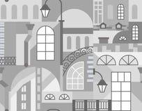 Ciudad vieja de Europa Mosaico colorido del arte Modelo inconsútil ilustración del vector