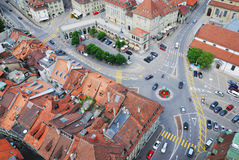 Ciudad vieja de Fribourg de arriba. Foto de archivo