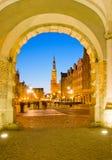 Ciudad vieja de Gdansk en la noche Foto de archivo libre de regalías