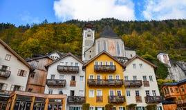 Ciudad vieja de Hallstatt, Austria fotografía de archivo