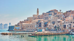 Ciudad vieja de Jaffa, opinión de la playa fotos de archivo libres de regalías
