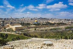 Ciudad vieja de Jerusalén del monte de los Olivos Imágenes de archivo libres de regalías