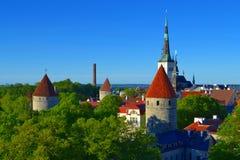 Ciudad vieja de la opinión de Tallinn Estonia Imágenes de archivo libres de regalías