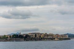 Ciudad vieja de la visión panorámica en la isla de Corfú, Grecia Imagen de archivo