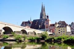 Ciudad vieja de Regensburg, Alemania Imágenes de archivo libres de regalías