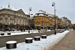 Ciudad vieja de Varsovia en invierno Imagenes de archivo