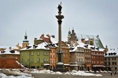 Ciudad vieja de Varsovia en invierno Fotos de archivo