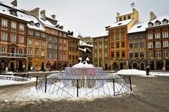 Ciudad vieja de Varsovia en invierno Imagen de archivo
